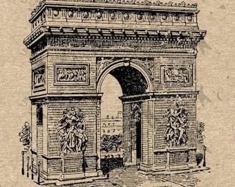 Antique image Paris Triumphal Arch picture Instant Download printable Vintage clipart digital graphic scrapbooking decor t-shirts HQ 300dpi