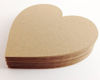 50 Kraft Die Cut Hearts - Rustic Wedding - 3 inch Hearts - Kraft Hearts - Large Kraft Hearts - Paper Hearts - Wedding Wishing Tree -