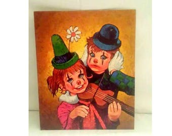 Vintage BIG EYES Lee Clown Litho,LEE, Clowns,,Big Eyes Clown,Signed,Creepy Cute, Violin, Clown Kids,Kitsch, Lee Clown Litho, Circa 1960s