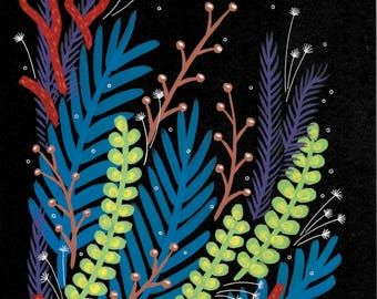 "Original Gouache Illustration - ""Bouquet on Black"" Series - 6 of 10"
