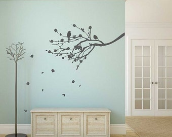 Cherry Blossom Branch Silhouette with Birds