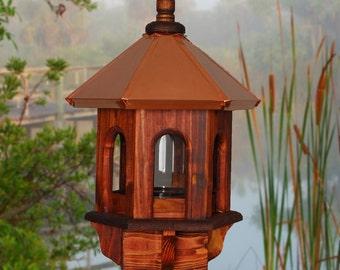 Wild Bird Feeder, Copper Bird Feeder, Rustic Bird Feeder, Gazebo Bird Feeder, Wood Bird Feeder