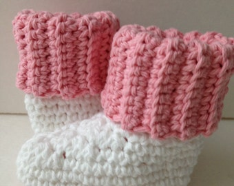 Baby Booties - Pink and White Baby Boots - Crochet Handmade - Ready to Ship