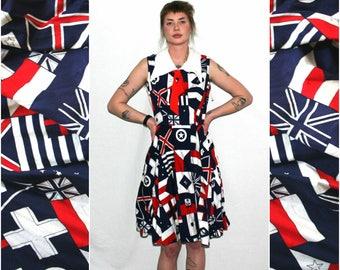 60s Retro Nautical Flag Mod Dress With Peter Pan Collar. 60s Blue Red White Flag Midi Dress. Mid Century Sleeveless Pin Up Dress