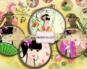Geisha Cabochon images Digital Collage Sheet 1.5 inch 18mm 14mm 1 inch round Printable images digital download Bottle Cap image c81