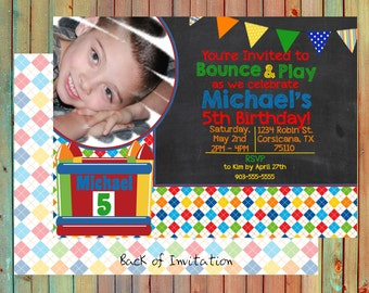 Bounce House Personalized Party Invitation (Printed)