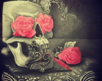 Skull Tattoo Machine and Roses Charcoal Drawing