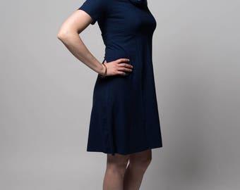 Organic Solstice Dress. Cowl neck. Knee length. Aline. Hemp/organic cotton knit. Short dress. Hemp dress. Hemp clothing.