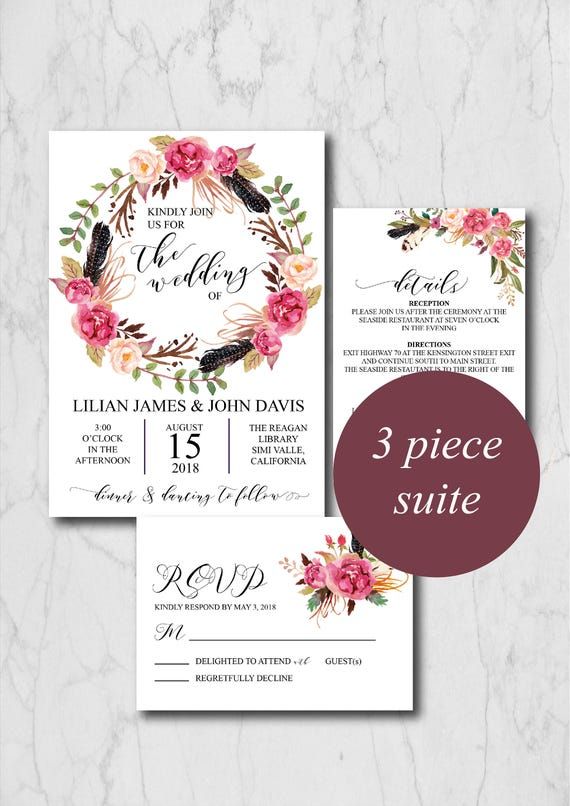 Boho Burgundy Wedding Invitation Suite Template Rustic