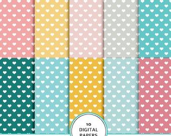 Hearts digital paper,  hearts digital scrapbook paper, heart pattern, hearts background, hearts printable paper, baby digital paper, pink