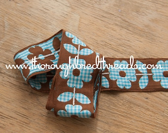 2 yards Mod Embroidered Vintage Trim- Daisies Gingham Checked turquoise 60s 70s New Old Stock