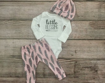 Little Blessing Newborn Outfit/ Take Home Outfit/ Feather Leggings/ Baby Leggings