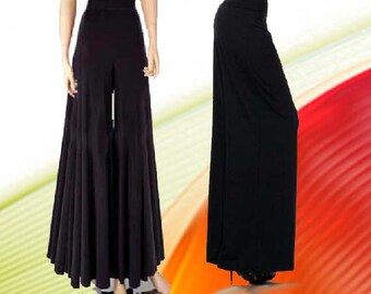 "Palazzo Pants  35 "" Wide Leg High Waist Made To Measurement Matte Jersey Many Colors and Prints"