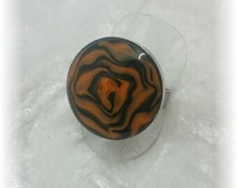 Halloween colors - great orange and Black Rose ring 19 mm adjustable