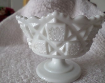 Westmoreland Milk Glass Old Quilt Compote