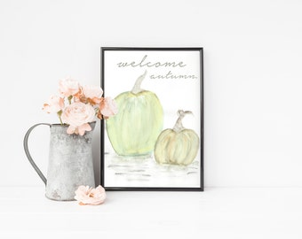 Welcome Autumn Printable / Fall Watercolor Pumpkins Print / Green Watercolor Pumpkin Print / Fall Printable / Fall Wall Art/ Autumn Wall Art