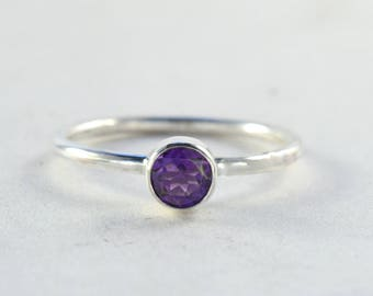 RG657 - Sterling Silver Birthstone Ring, gemstone ring, stacking ring, gift for her