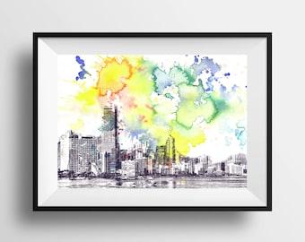 Miami Skyline Landscape Art Print From Original Watercolor Painting 8 x 10 in. Miami Art Print