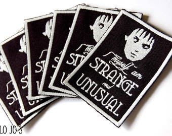 Beetlejuice Lydia Deetz embroidered patch, horror jacket, Glow in the dark 'Strange and Unusual'
