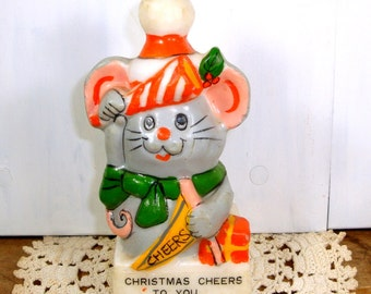 Vintage Mouse Candle, Christmas Cheer, Holiday Decor  (45-14)