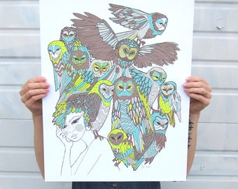 Bird Brain screen-printed poster