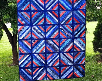 Price Reduced - Americana String Lap Quilt - sale