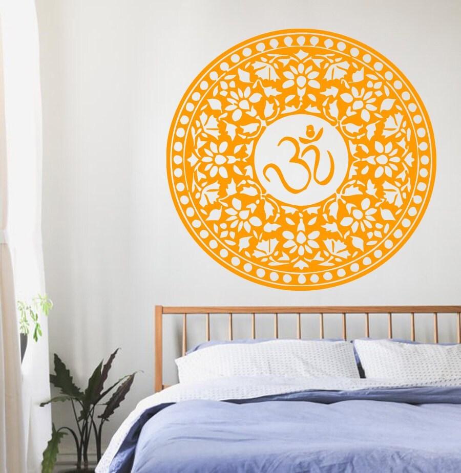 Mandala Wall Decals Indian Pattern Om Symbol Oum Sign Vinyl