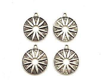 4 Antik Silber Sunburst Sternzeichen Symbol-Charms - 22-6-6