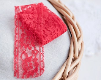Red lace trim_vintage lace ribbon_bright red_floral pattern_traditional folk trim_4.5 cm 1.78'' wide_rayon lace_scrapbooking sewing supply