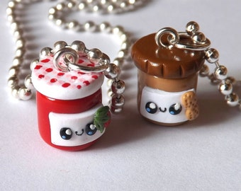 Peanut Butter and Jelly Necklaces - Best Friend PBJ Charm Necklaces - Best Friend Jewelry - Miniature Food Jewelry - PitterPatterPolymer