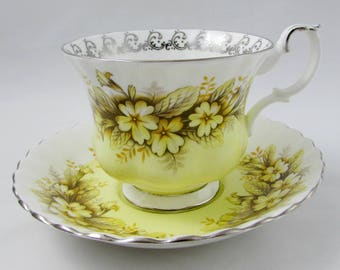"Royal Albert ""Duet"" Tea Cup and Saucer Melody Series, Vintage Bone China, Yellow Tea Cup"