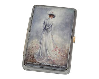 Decorated Cigarette Case, Cigarette Box, Business Card Holder, Vintage Decoupage Cigarette Case, Cigarette Holder, Metal Cigarette Case,
