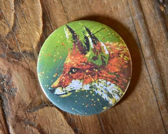 Fox magnet / / animal / / magnet / / gift / / decor / / decoration / / painting / / design / / original / / green / / forest / / Red
