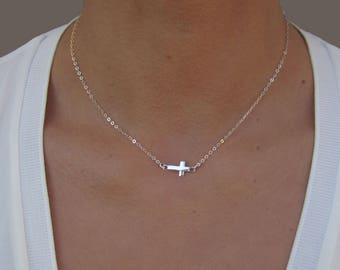 Cross Necklace, 14k Gold Fill or Silver, Cross Necklace for Girl, Tiny Cross Necklace, Small Cross Necklace, Birthday Gift for Best Friend