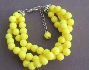 Yellow Beads Bracelet,Bright Yellow Twisted Bracelet,Bridal Party Gift Idea,Wedding Party Gift,Bridesmaid Wedding Jewelry,Free Shipping USA