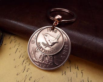 1948 British Penny Farthing Old Vintage Double Coin Keychain Gift Lucky Penny 70th Birthday Gift.  Boxed