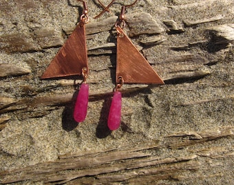 Copper Triangle Dangle, Hot Pink Quartz Drop