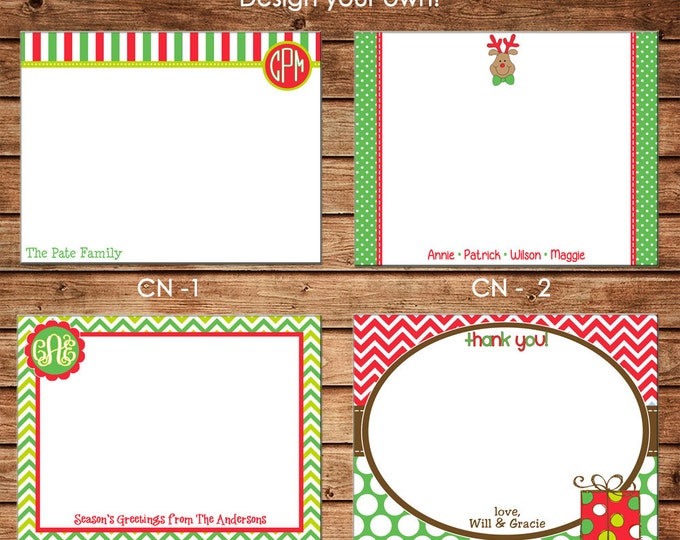Personalized Holiday / Christmas Flat Notes Notecards Stationery with Envelopes - Design your own - Choose ONE DESIGN