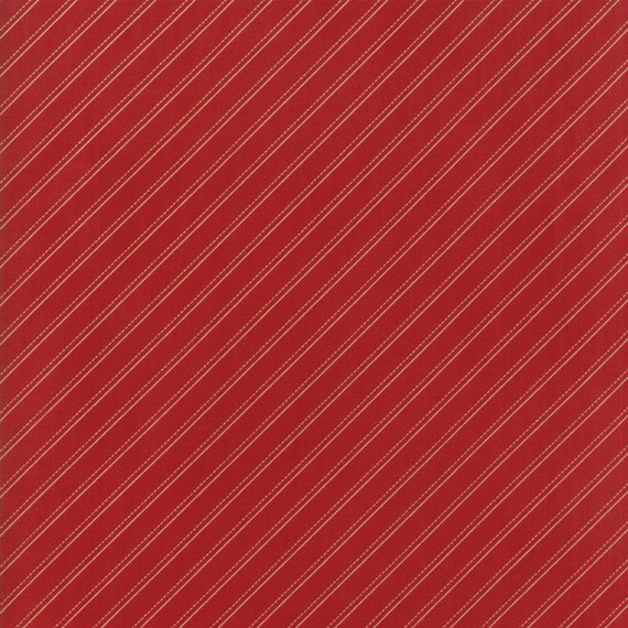 Farmhouse Reds Diagonal Line, Tan and Cream on Red by Minick And Simpson. Red And Cream Quilt Supply For Moda Fabric By The Yard 14853 11