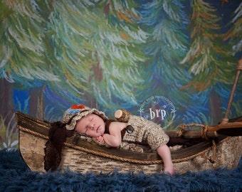 Newborn Fisherman Outfit/ Baby Fisherman Hat/Crochet Bucket Hat/Baby Boy Prop/Little Fisherman Set with Little Fish/ Newborn Photo Prop