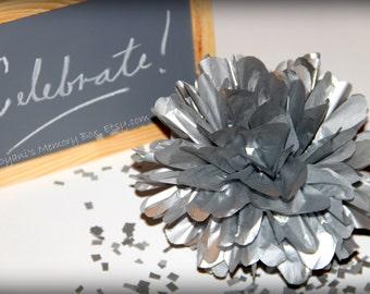 Metallic Silver Handmade Tissue Paper Pom Poms / paper flower / Wedding Poms / Nursery / Birthday party/ New Year decor