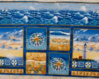 """Lighthouse Fabric Panel/Mariners Compass/Quilt Patterns/ocean/sea/waves - Blue Sea Quilts approx. 24"""" x 43"""" (#O71)"""