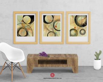 Stixy – Set of 3 – Mid Century Abstract Contemporary Modern Art Giclée Print