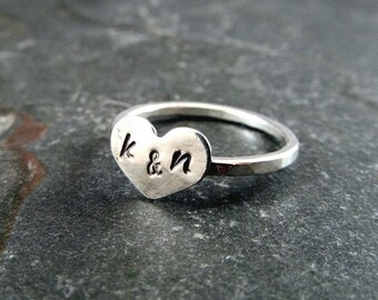 Valentines gift, Sweetheart Ring, Personalized Heart Ring, gift for her, Etsy XO, Heart Ring