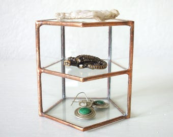 Jewelry Display Case, Glass Display Box, Glass Display Case, Glass Keepsake Box, Glass Jewelry Shelf, Geometric Glass Box, glass crystal box