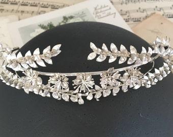 Wedding Silver crown Bridal, vintage diadem, German Myrtle Tiara, 30s, bridal headdress, hair jewelry, bridal jewelry, Boho headband