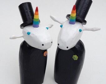 Unicorn Wedding Cake Toppers | Gay Wedding Cake Toppers | Custom Wedding Cake Toppers | Forest Cake Topper