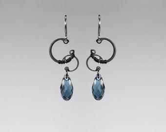 Blue Swarovski Crystal Earrings, Industrial Earrings, Bridal Jewelry, Denim Blue, Simple Earring by Youniquely Chic, Thelxinoe II v10