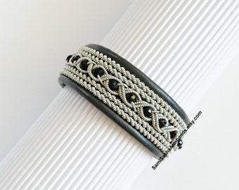 Gray Sami (Saami) Lapland leather armband Swedish Viking bracelet Scandinavian jewelry