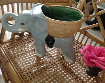 "VINTAGE ELEPHANT PLANTER / Elephant Plant Stand / 15"" long x 9.5"" tall x 6"" wide /Chinoiserie Elephant Centerpiece planter Retro Daisy Girl"
